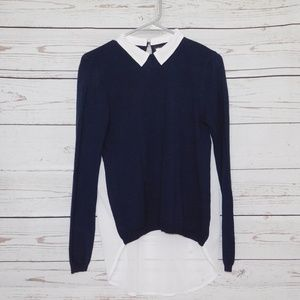 Navy and White Blouse